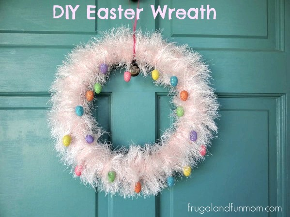 DIY Easter Wreath with Fun Fur and Egg Ornaments