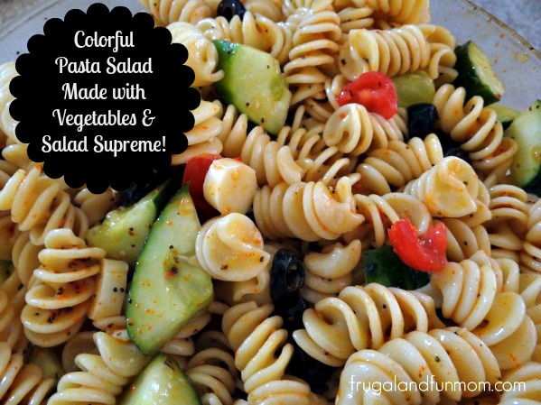 Colorful Pasta Salad Made With Vegetables and Salad Supreme Recipe