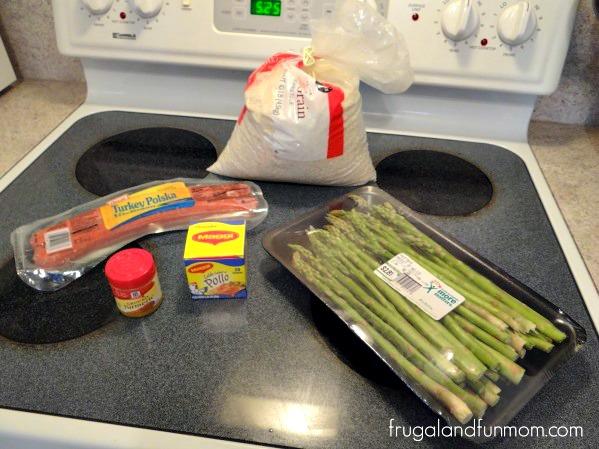 Sausage, Asparagus, and Yellow Rice