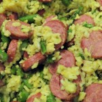 Sausage, Asparagus, and Yellow Rice Recipe! Colorful, and A Sneaky Way To Get Your Kids To Eat Their Veggies!