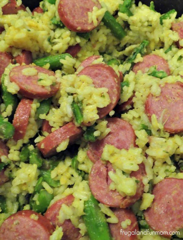 Sausage, Asparagus, and Yellow Rice Recipe Upclose