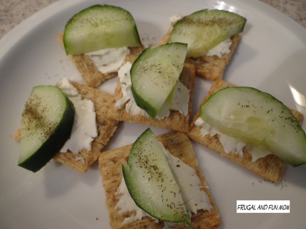 Cucumber on triscuit crackers