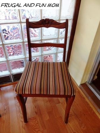 My 4 Chairs Got a Quick Makeover with Fabric And I Only Spent $9.00! DIY Frugal Living Idea!