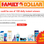 Family Dollar Instant Win Game! 100 Winners Everyday!