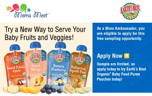 Chance for FREE Product Sampling Through Moms Meet! Try Earth's Best Baby Food Pouches!