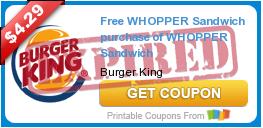 Free WHOPPER Sandwich purchase of WHOPPER Sandwich
