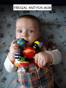 Baby with Nuby Twisty Bugs Teether