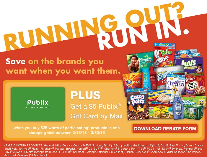 "$5 Rebate During The Publix ""Running Out? Run In."" Event March 13th through March 30th, 2013! I'm Giving Away a $25 Publix Gift Card as Well!"