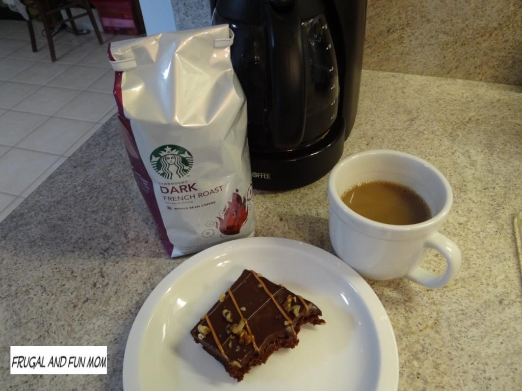 Starbucks Dark French Roast and Walmart Turtle Brownie Picture