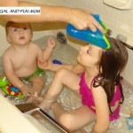 Nuby Tear Free Rinse Pail with kids