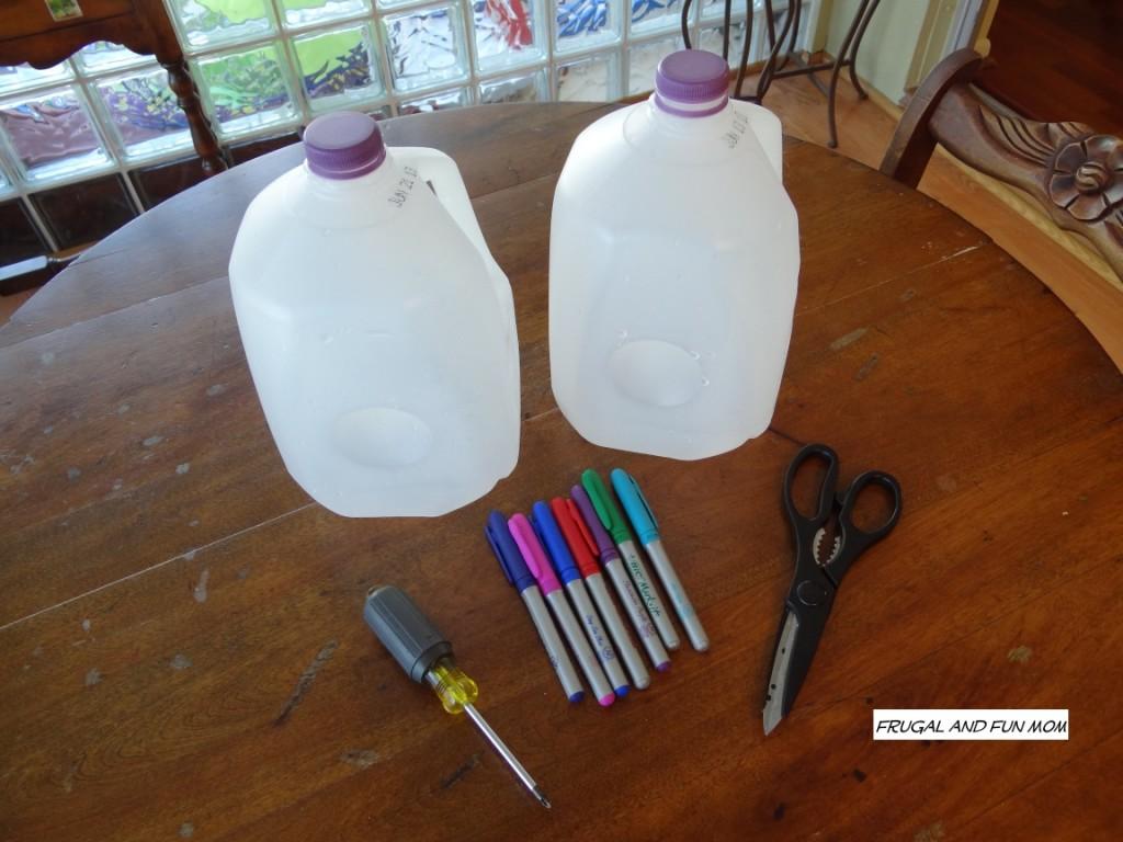 Milk Jugs into Flower pots