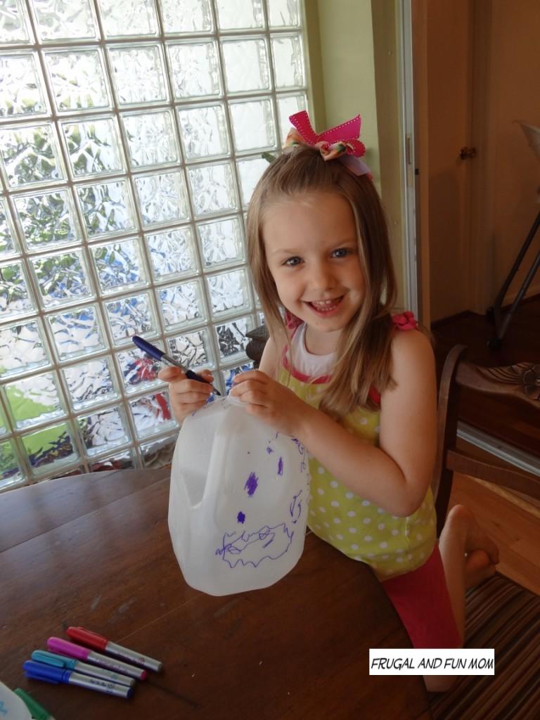 Milk Jugs into Flower pots decorating