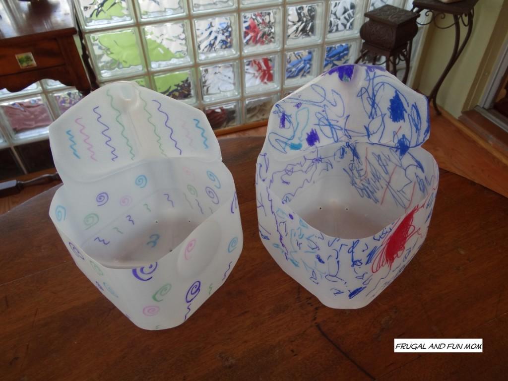 Milk Jugs into Flower pots finished