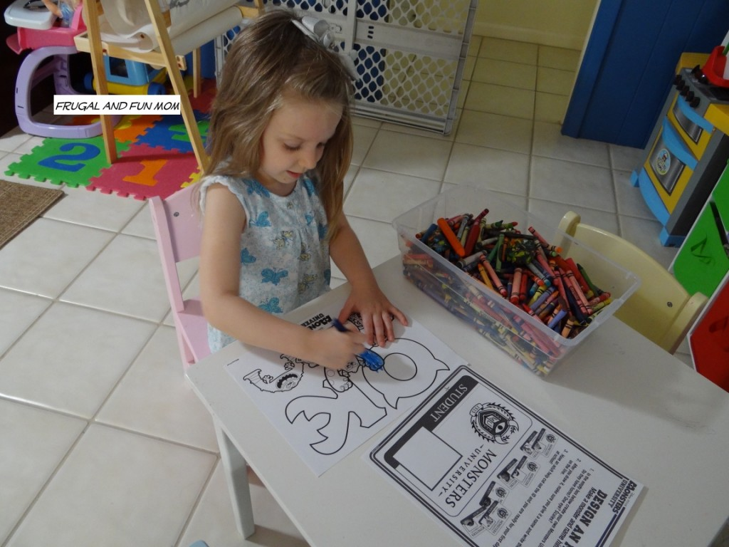 Monsters University Coloring Sheet with child