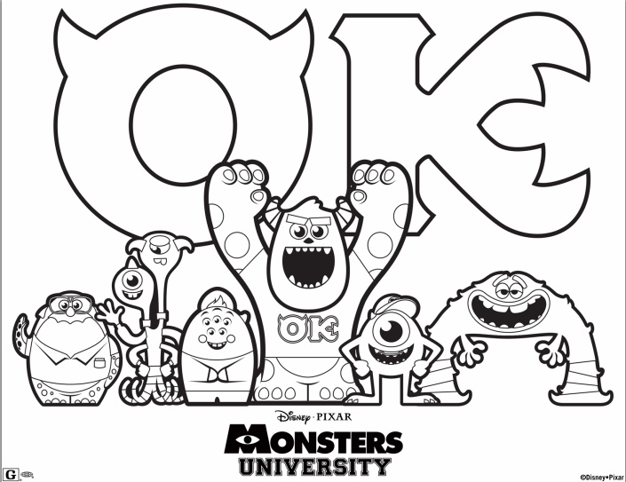 FREE Disney Pixar Monsters University Printable Coloring Sheet!