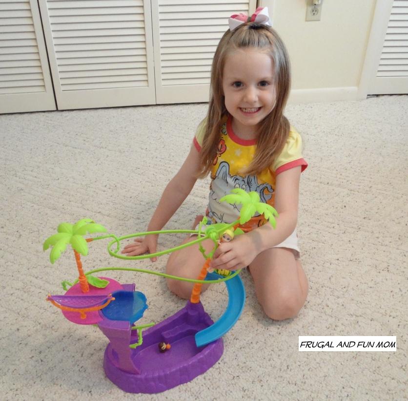 Polly Pocket Zipline Adventure Pool with little girl