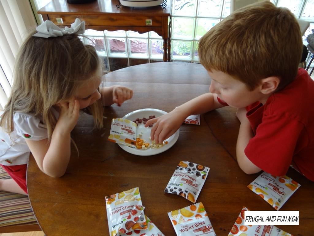 Sprout Toddler Fruity Yogurt  Bites and Crispy Chews Organic Kids eating