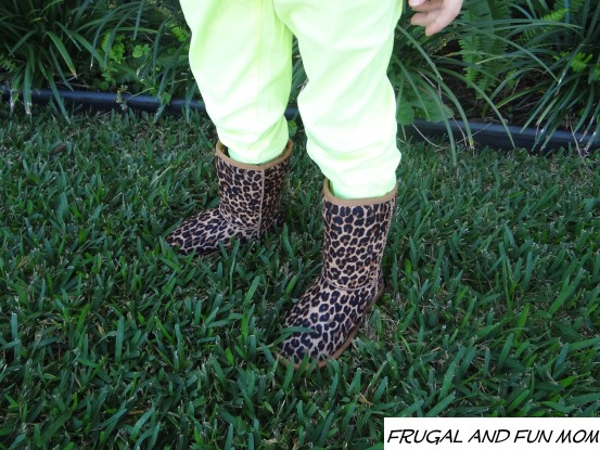 Animal print boots for a girl