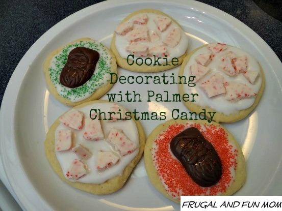 Cookies decorated with Palmer Candy Peppermint Bark