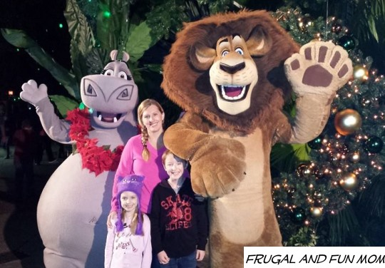 Meeting the cast of Madagascar Christmas Town at Busch Gardens