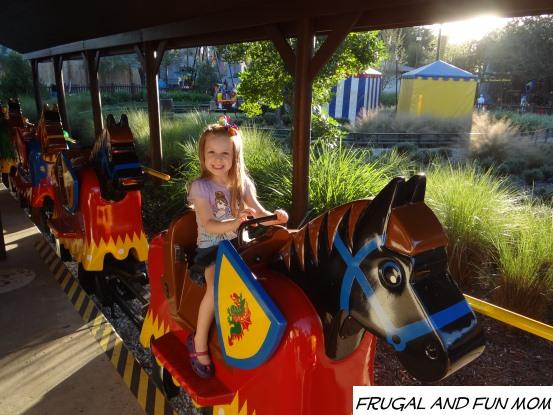 Riding a LEGO horse at Legoland