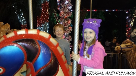 Riding the Carousel at Christmas Town at Busch Gardens