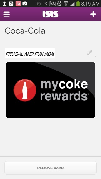 Screenshot Reward Card ISIS My Coke Rewards