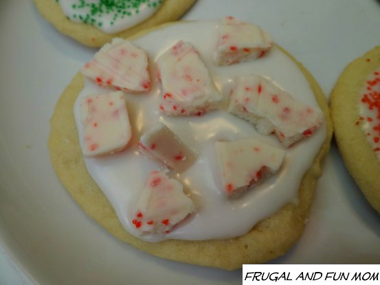 Sugar Cookie Decorated with Palmer Peppermint Bark Bar