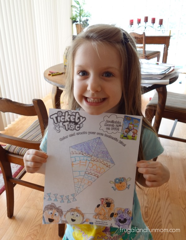 Tickety Toc Coloring Sheet with Kite and Tommy and Tallulah