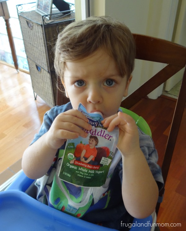 Serious eating of Stonyfield's YoToddler Organic Yogurt