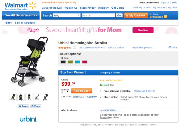Urbini Hummingbird Stroller at Walmart