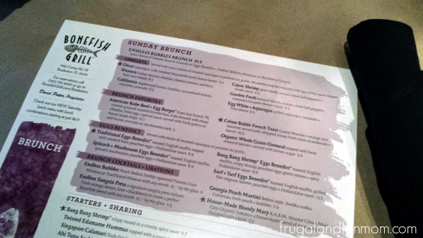 Brunch at Bonefish Grill Menu