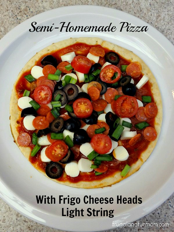 Semihomemade Pizza made with Frigo Cheese Heads Light String