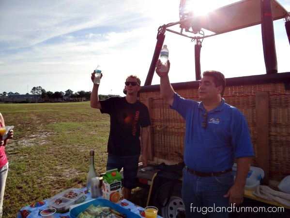 The Pilot toasting after our Hot Air Ballon Ride