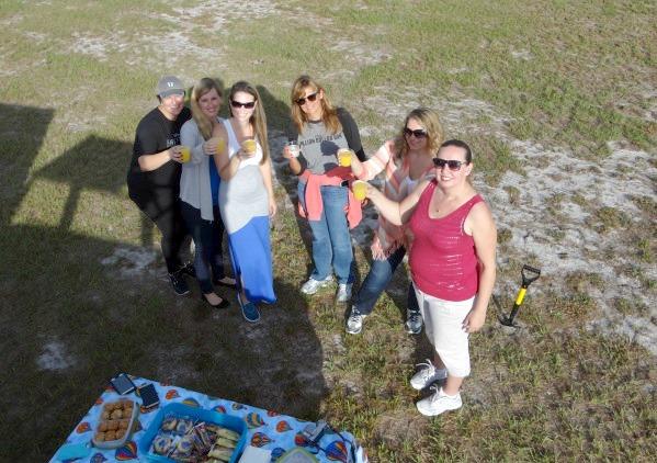 Toasting after Our Hot Air Ballon Ride Orlando Florida