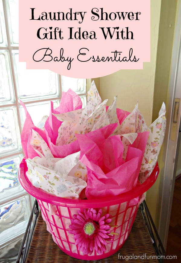 baby shower gift idea with essentials in a laundry basket frugal