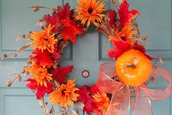 Fall Door Wreath Idea That Is No Glue! Made With Dollar Store Items!