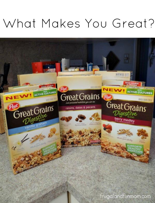 Varieties of Post Great Grains Cereal