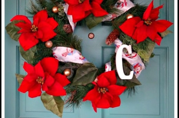 Poinsettia Christmas Wreath with Letter! An Artificial DIY Craft!