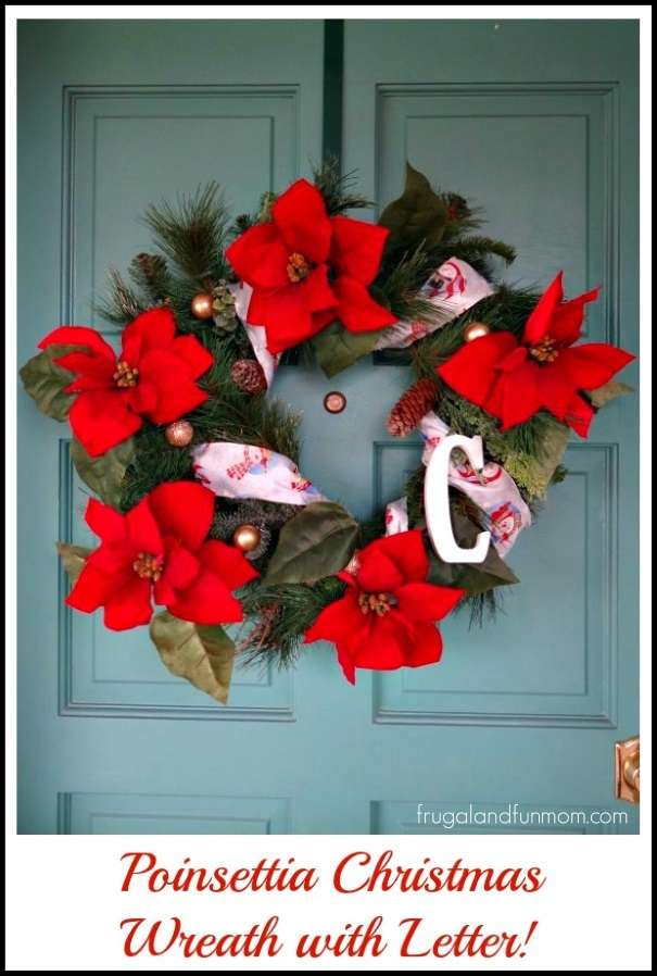 Poinsettia Christmas Wreath with Letter An Artificial DIY Craft