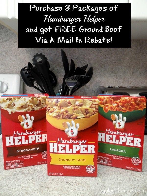 Hamburger Helper Varieties with Free Ground Beef offer rebate