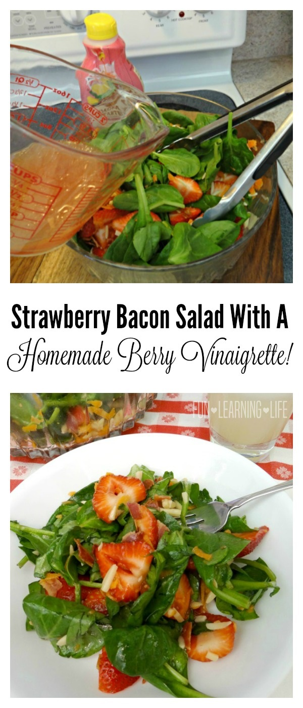 Strawberry Bacon Salad With A Homemade Berry Vinaigrette!