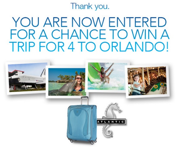 Entered to win a trip to Orlando from Atlantic Luggage