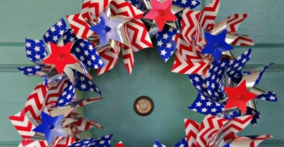 Red White and Blue Pinwheel Wreath
