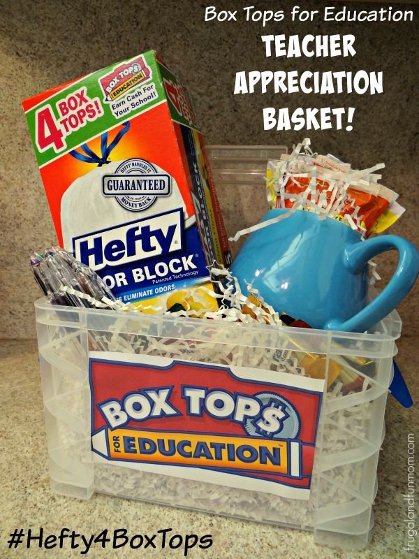 Box Tops for Education Teacher Appreciation Basket! #Hefty4BoxTops