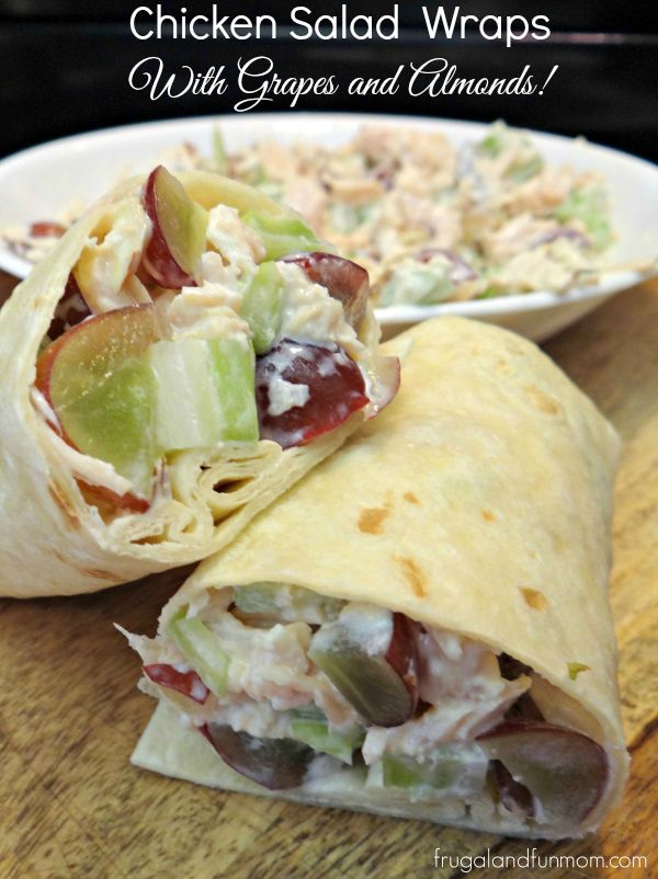 Chicken Salad Wraps with Grapes and Almonds, Lunchbox Ready for Back ...