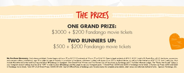 Fandango I Love Movies Too Contest Prizes