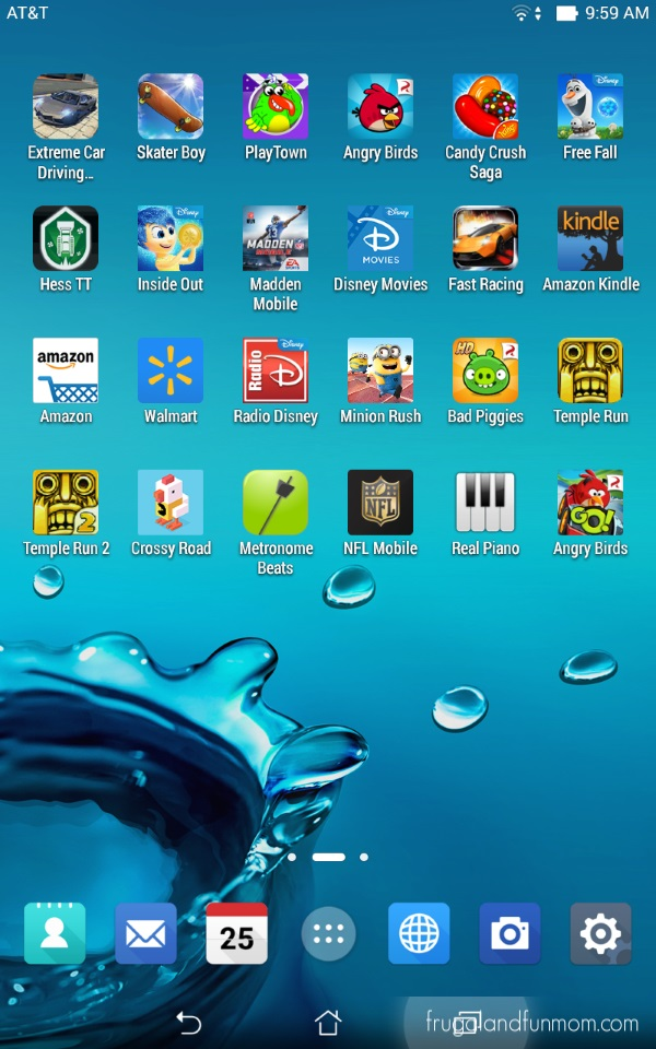 Screenshot of Apps added to the ASUS MeMo Pad 7 LTE