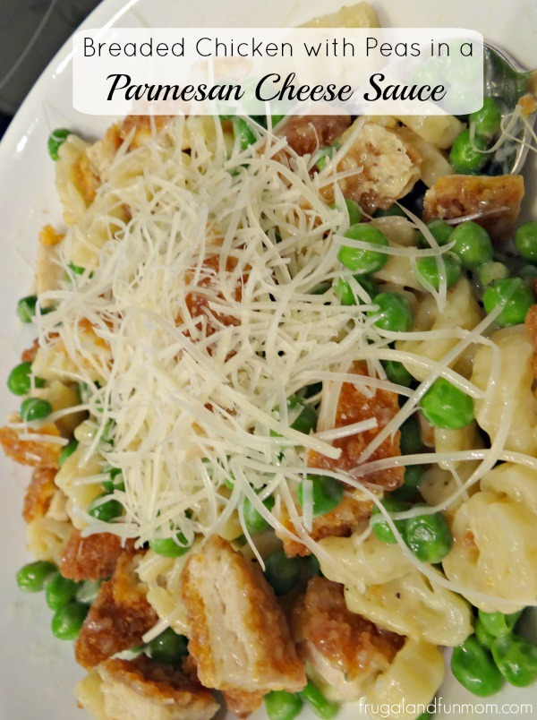 Breaded Chicken and Peas in a Parmesan Cheese Sauce with Disney Pasta