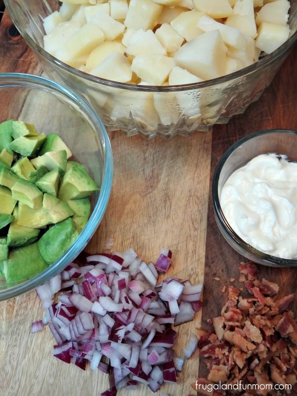 Ingredients for Avocado and Bacon Potato Salad